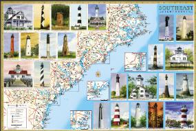 Lighthouses SouthEast laminated map poster from www.maritimegift.com